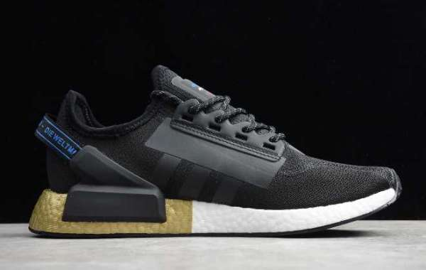 2020 adidas NMD R1 V2 Black/Gold Metallic FW5327