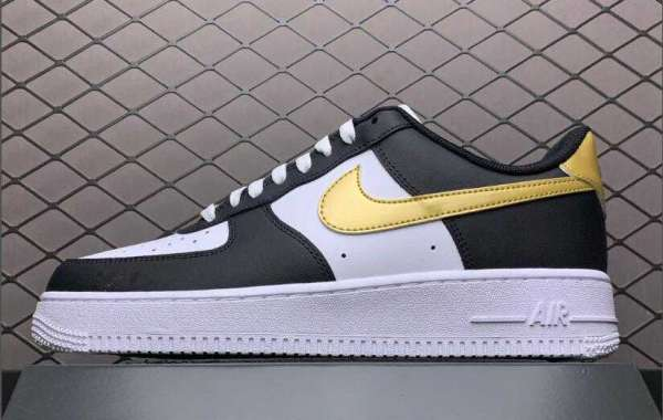 "2021 Nike Air Force 1 Low ""DMP"" Black White Metallic Gold Cheap Shoes For Sale CZ9189-001"