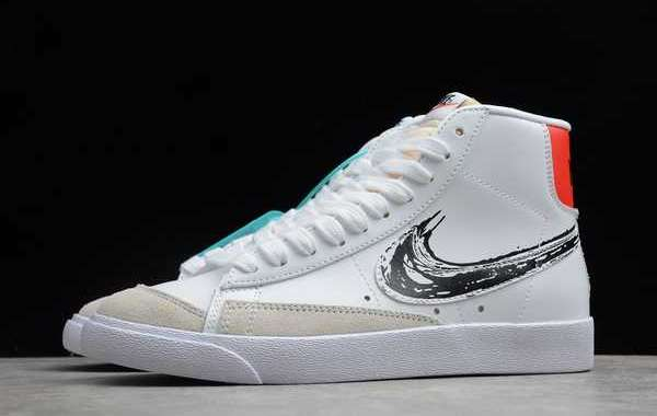 CW7580-110 New Nike Blazer Mid 77 Brushstroke Swoosh White Black Red Shoes For Cheap